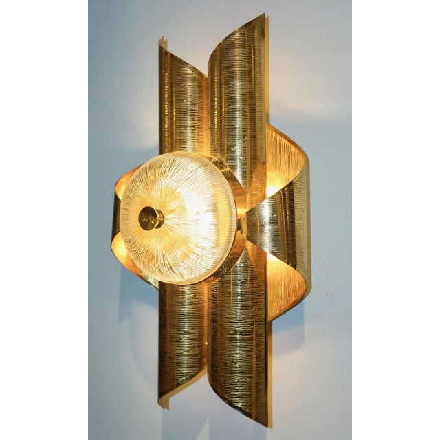 Gold Vintage Late 1970s Modern Folded Brass and Clear Glass Sconces - a Pair For Sale - Image 8 of 13