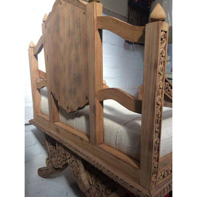 Antique Carved Wooden Elephant Saddle Chair With Hand Woven Textile Cushion For Sale - Image 10 of 11