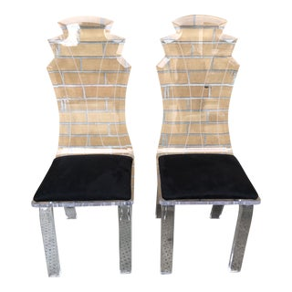 Pair of MCM Lucite Chairs For Sale