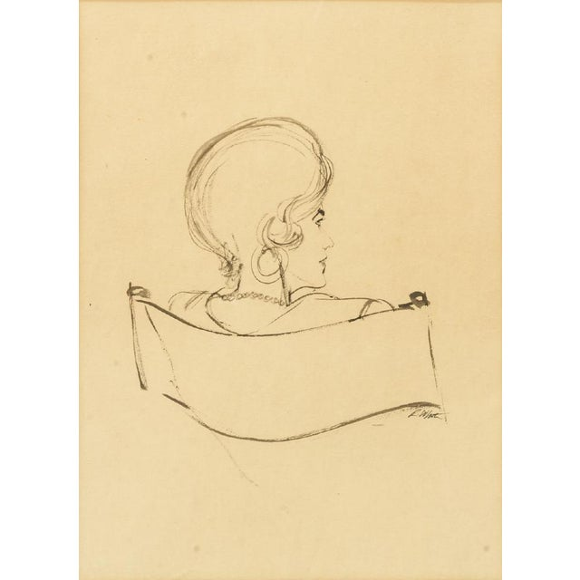 Figurative 1970s Framed Female Ink Drawing Studies by Ralph E. White - Set of 3 For Sale - Image 3 of 13