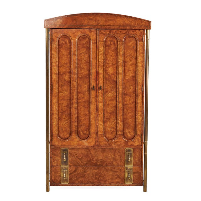 Brass Mastercraft Hollywood Regency Burl Wood Brass Armoire For Sale - Image 8 of 8