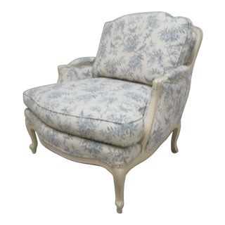 1990s Vintage Ethan Allen Country French Legacy Toile Living Room Lounge Chair For Sale