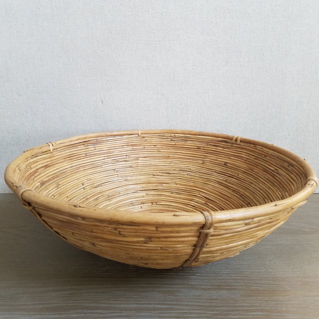 Coiled Bamboo Basket Bowl For Sale In Dallas - Image 6 of 6