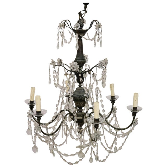18th Century Italian Louis XVI Crystals Antique Chandelier For Sale