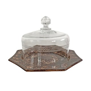 19th Century Glass Cheese Dome and Spongeware Plate For Sale