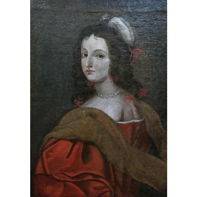 17th century Old Master-Portrait of a Elegant Woman- Oil painting oil painting on canvas-circa 1660/80s -Unsigned frame...