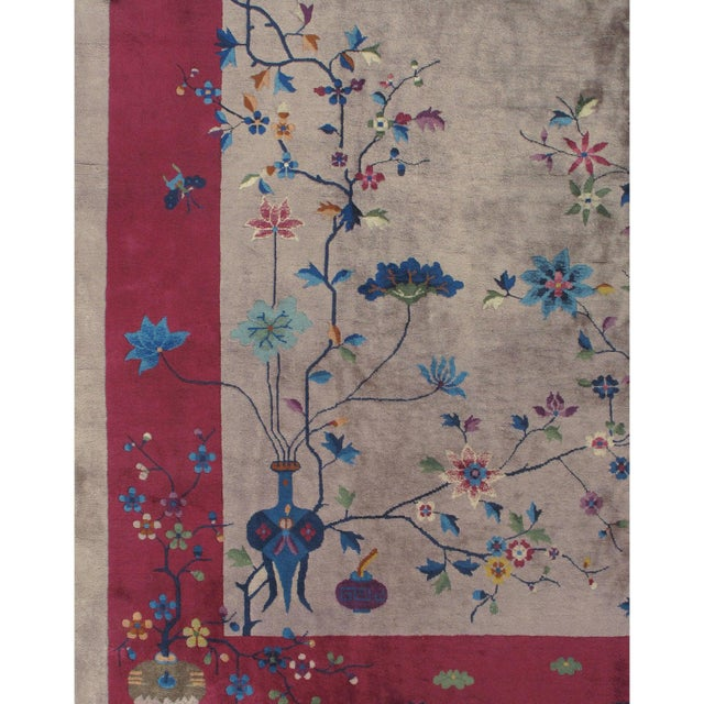Asian Art Deco Chinese Rug 8'10 X 11'5 For Sale - Image 3 of 6