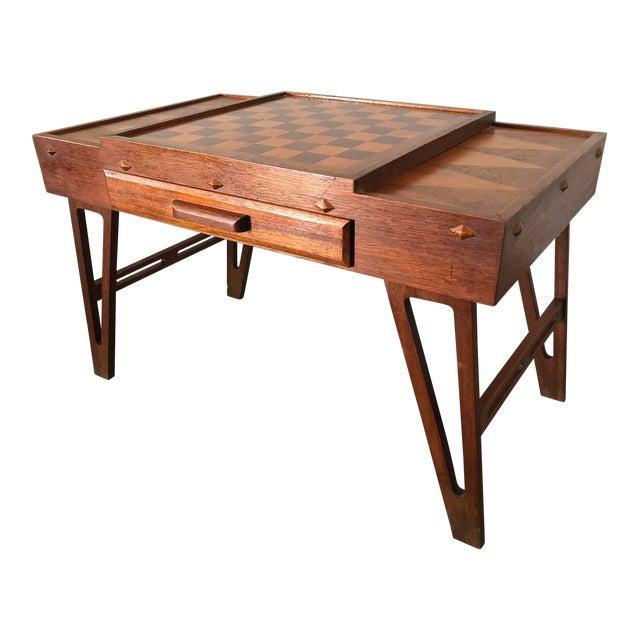 Mid Century Danish Modern Teak Game Table For Sale