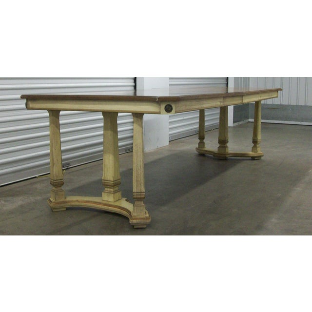 "French Provincial 1970s French Provincial Stanley Furniture Rectangular Trestle Dining Table 102"" For Sale - Image 3 of 10"