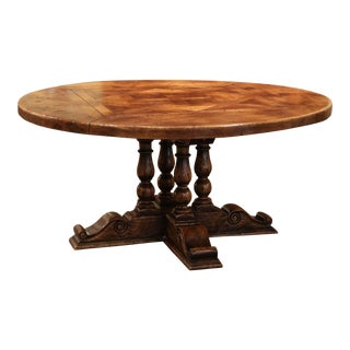 Midcentury French Carved Walnut Pedestal Round Dining Table With Parquetry Top For Sale