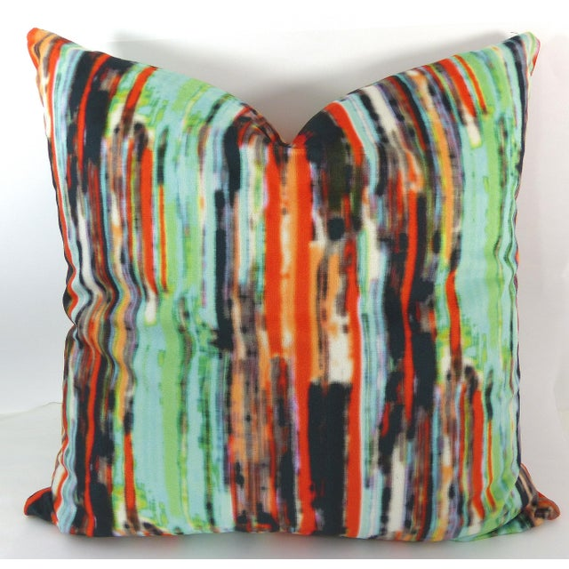 This is a custom made, rainbow-striped multi-colored velvet pillow, (Green/Orange/Gold/Blue/Black). It is zipped and comes...