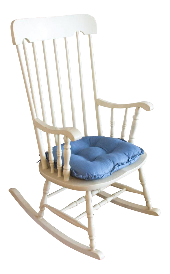 Nichols And Stone Style Windsor White Wooden Rocking Chair
