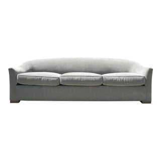 Down Filled Silver Velvet Sculptural Sofa