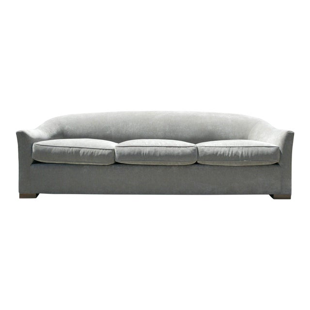 Down Filled Silver Velvet Sculptural Sofa - Image 1 of 9
