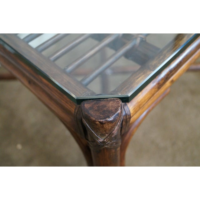 McGuire Rattan Bamboo Square Glass Top Side Table - Image 4 of 10