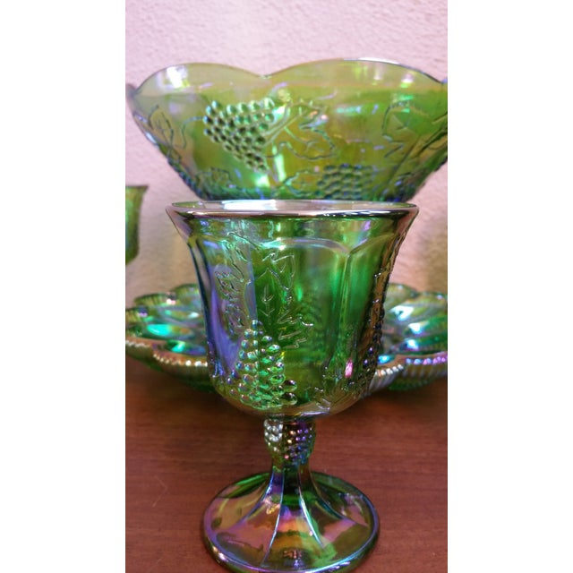 Carnival 1970s Iridescent Green & Brown Glassware - Image 3 of 8