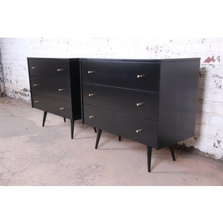 Paul McCobb Planner Group Black Lacquered Three Drawer Bachelor Chests or Large Nightstands, Newly Restored Preview