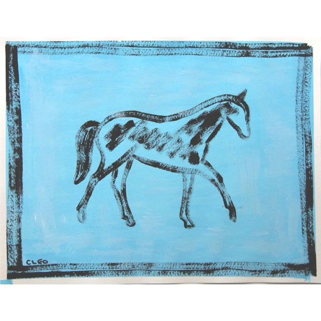 An abstract horse painting in black on a mottled sky blue background. A contemporary must for any horse lover. Gouache on...