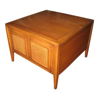 Mid-Century Modern Teak and Caning End Table For Sale