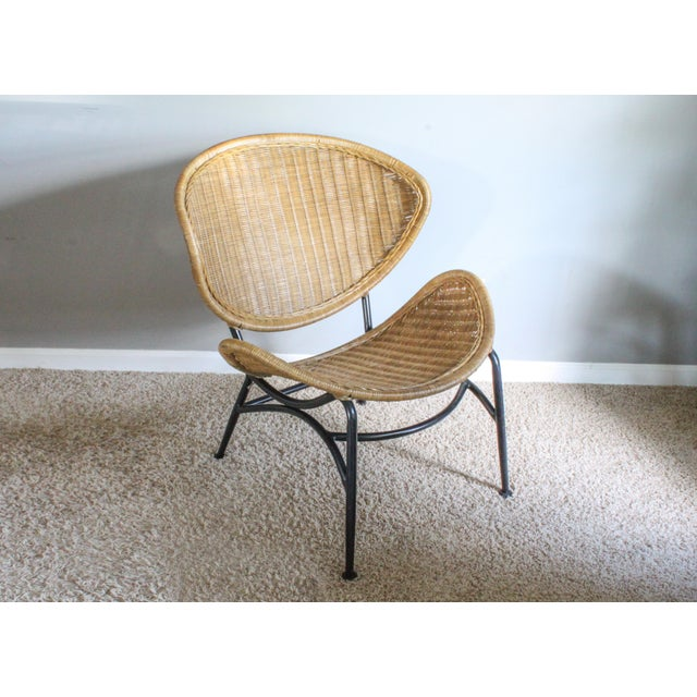 """Salterini Style Whicker """"Orbit"""" Shell Chair For Sale - Image 10 of 10"""