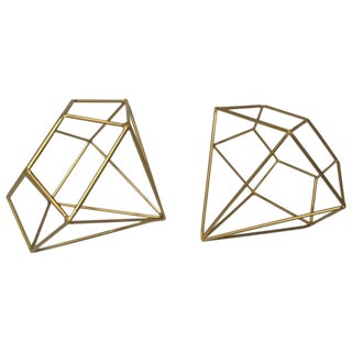 Metal Shaped Faceted Diamonds - a Pair