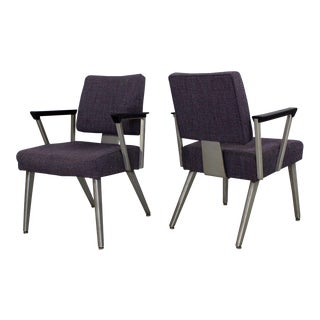 1960s Mid Century Modern Goodform Angular Aluminum Armchairs - a Pair