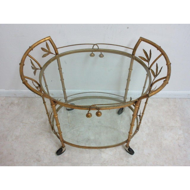 French French Regency Faux Bamboo Tea Cart For Sale - Image 3 of 10