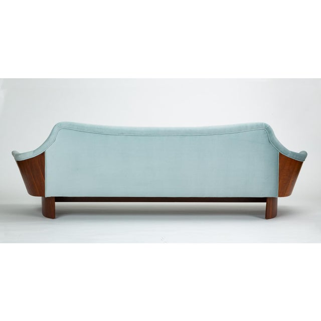 American Made Gondola Sofa in Ice Blue Velvet With Walnut Details For Sale - Image 10 of 13