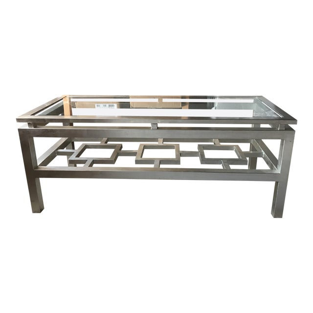 Worlds Away Pierre Silver Leaf Glass Top Coffee Table For Sale