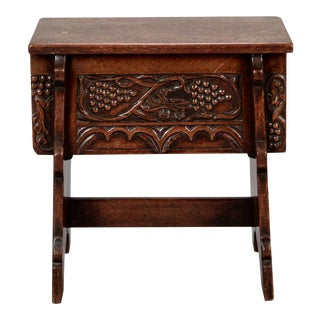 French Hand Carved Oak Stool with Grapes