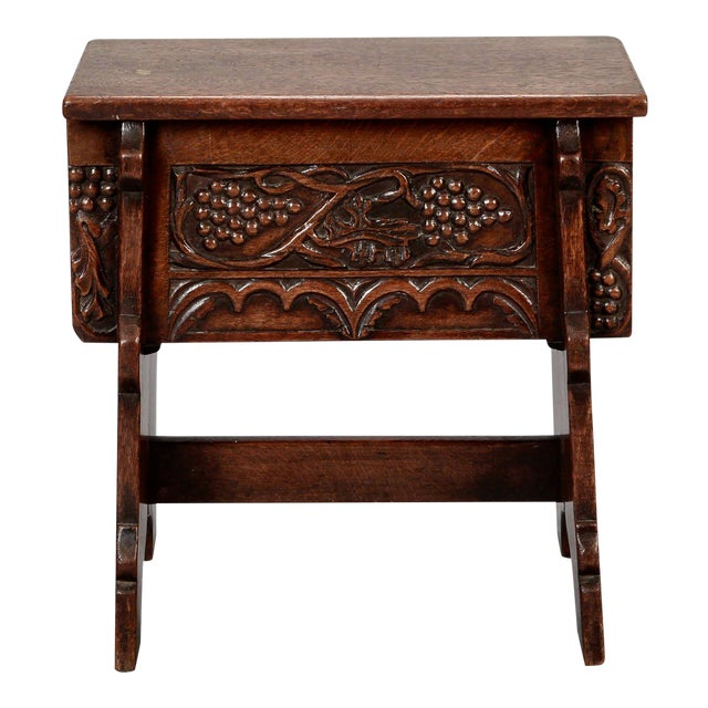 French Hand Carved Oak Stool with Grapes For Sale
