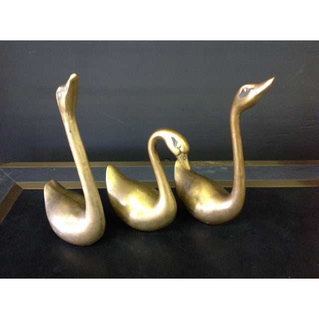 Brass Swans - Set of 3 - Image 2 of 4