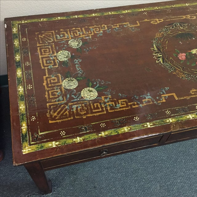Vintage Asian Painted Cocktail Table - Image 5 of 11