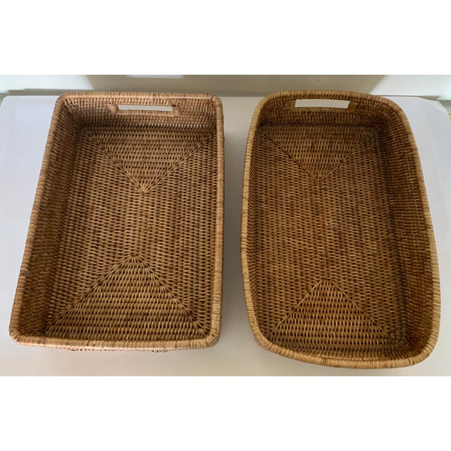 Rattan Woven Baskets - a Pair For Sale - Image 4 of 11