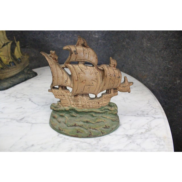 Early 20th Century Early 20th Century Vintage Columbus Ship Doorstop For Sale - Image 5 of 5