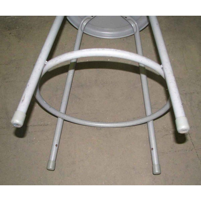 Metal Metal Gray Stool For Sale - Image 7 of 7