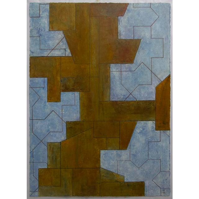 Ancient Modern Series Abstract Geometric Oil Painting on Paper Unframed For Sale - Image 4 of 4