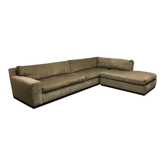 Cisco Furniture Green Velvet Two Piece Sectional For Sale