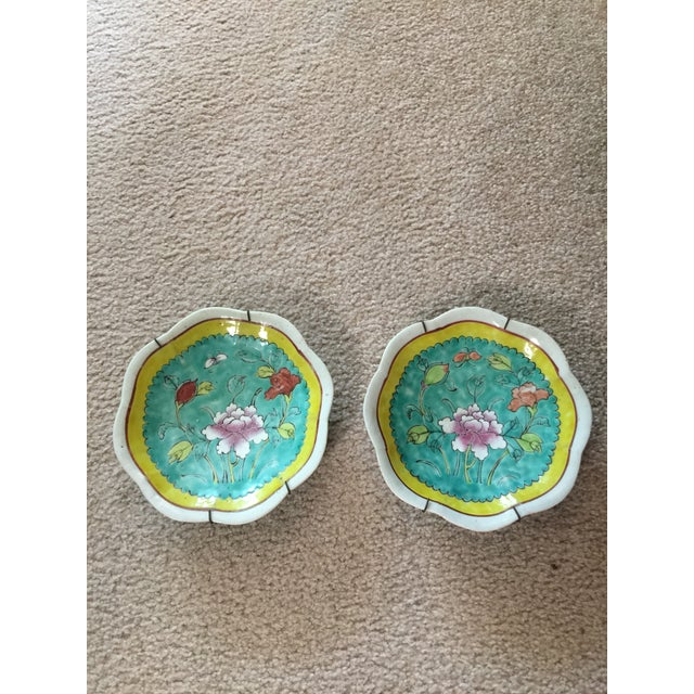 1930's Chinese Ceramic Painted Plates - a Pair For Sale - Image 4 of 9