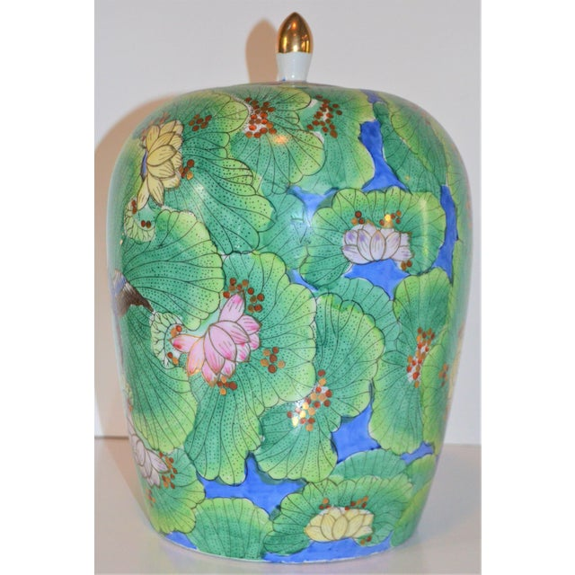 Chinoiserie (Price Firm) Chinese Lotus and Swallow Ginger Jar For Sale - Image 3 of 9