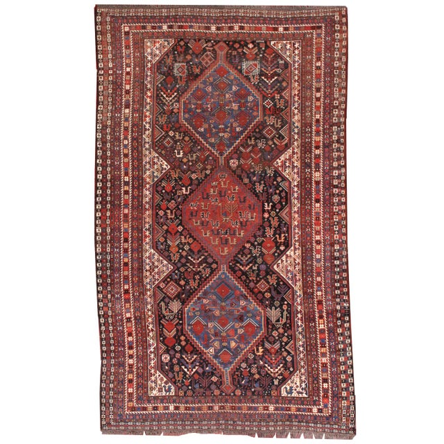 1880s Hand Made Antique Persian Khamseh Rug - 6' X 9' For Sale