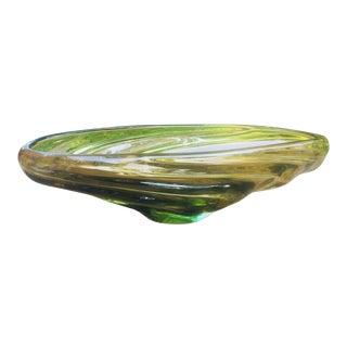 Scandinavian Green Glass Oblong Centerpiece Bowl For Sale