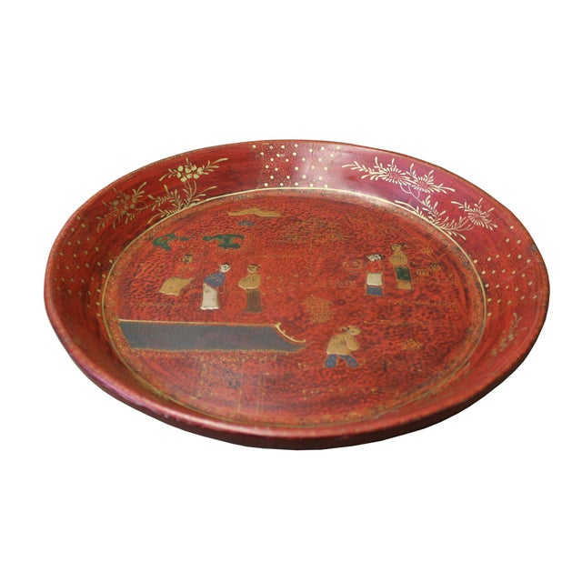 Wood Chinese Red Lacquer Golden Scenery Round Tray Display Art For Sale - Image 7 of 7