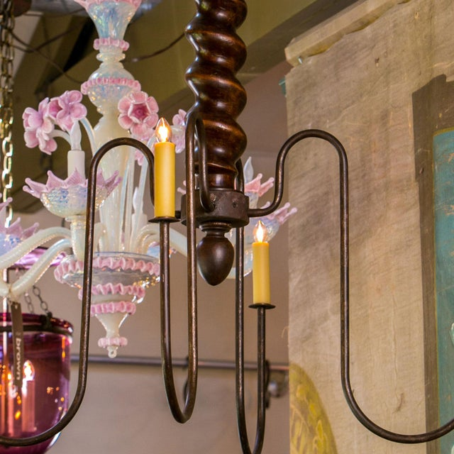 Wooden Barley Twist Iron Arm Chandelier For Sale In Houston - Image 6 of 8