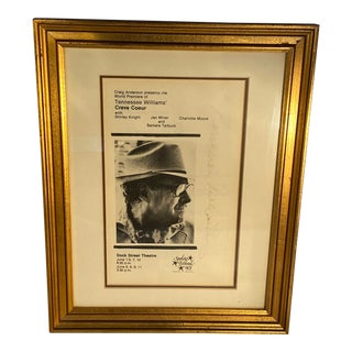 """1978 Dock Street Theatre Program of the World Premiere of """"Creve Coeur"""" by Tennessee Williams, Framed & Signed For Sale"""