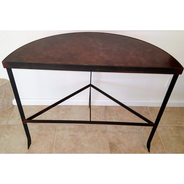 Iron & Acid Washed Copper Console Table - Image 4 of 7