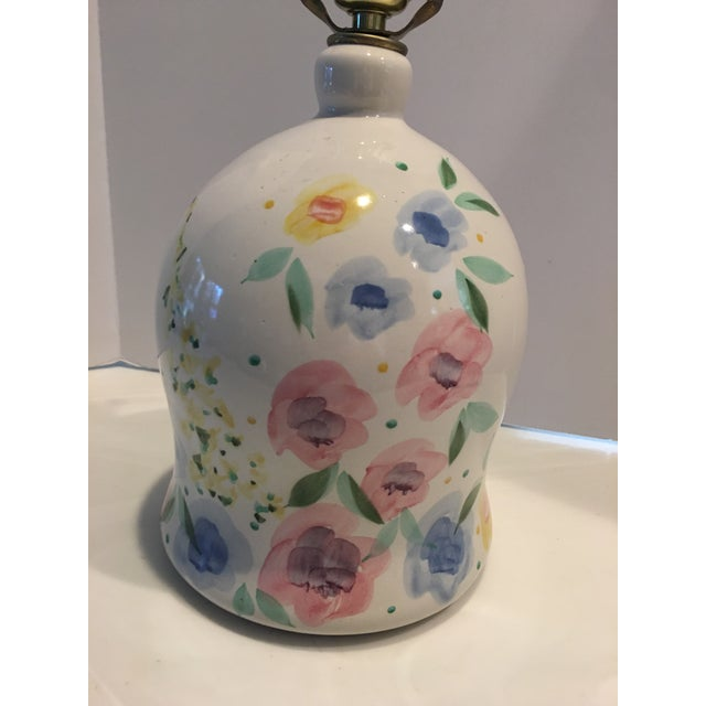 """Hand-painted floral pottery lamp, one of a kind, measuring 18"""" high. Soft pastel colors, ideal for a child's room, desk or..."""