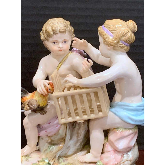19th Century Meissen Grouping of Two Boys With Rooster and Cage For Sale - Image 10 of 11
