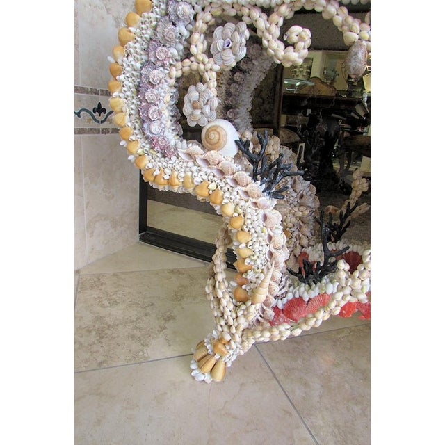 Coral French Louis XV Seashell Encrusted Console Table For Sale - Image 7 of 12