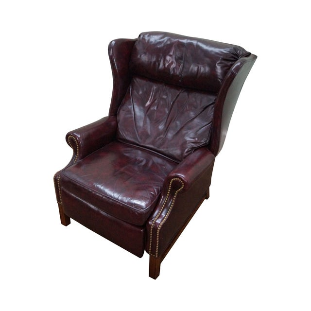 Quality Oxblood Leather Chippendale Wing Chair - Image 1 of 10